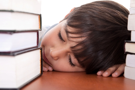 School boy tired of studying and sleeping with books